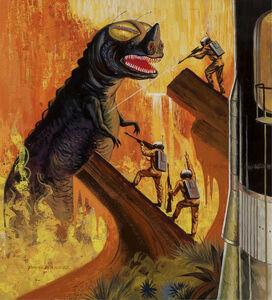 Paul Wenzel, '     Godzilla like Dinosaur Monster, SCI FI I.O.U., If Science Fiction Cover Illustration', 1961