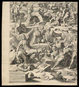 Pieter de Jode I, 'Iudic˜ uniuersalis paradigma Sacrae Scripturae testimonijs confirmatum : detail of Resurrection', 1726-1738