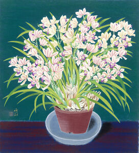 Kuo Hsueh-Hu 郭雪湖, 'Orchids in Full Bloom', 1988