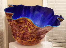 Dale Chihuly, 'Macchia Cobalt Bowl With Manganese Blue Lip', 1992