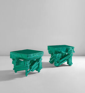 """Chris Schanck, 'Unique pair of tables, from the """"Alufoil"""" series', 2014"""