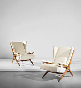 Franco Albini, 'Pair of early 'Fiorenza' armchairs, designed for the dining room of Casa F., Milan', circa 1945