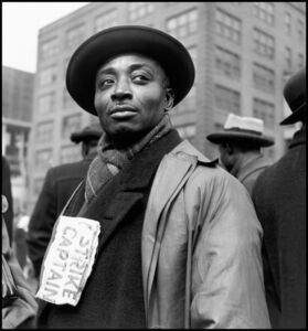Wayne Miller, 'Strike captain during protest by the packing house workers. Chicago, Illinois. USA.', 1948