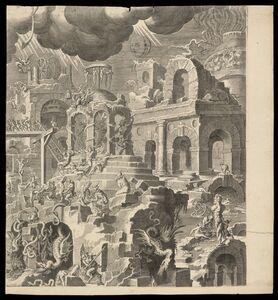 Pieter de Jode I, 'Iudic˜ uniuersalis paradigma Sacrae Scripturae testimonijs confirmatum : detail', 1726-1738