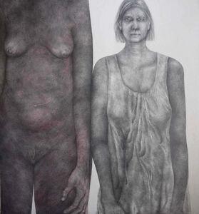 Diana Quinby, 'Autoportrait double avec rouge', 2019