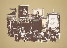 Banksy, 'Morons (Sepia), (Signed)', 2007