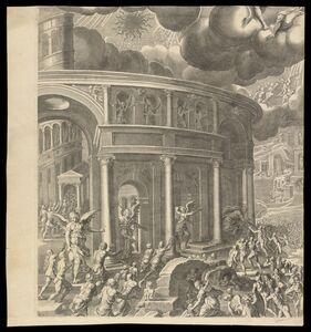 Pieter de Jode I, 'Iudic˜ uniuersalis paradigma Sacrae Scripturae testimonijs confirmatum : entrance to Heaven', 1726-1738