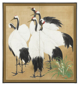 Unknown, 'Two-panel Screen, Group of Six Cranes by Orchid (T-4189)', ca. 1920