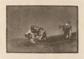 Francisco de Goya, 'El mismo vuelca un toro en la plaza de Madrid (The Same Man Throws a Bull in the Ring at Madrid)', in or before 1816