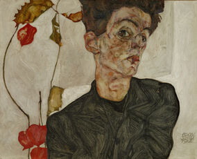 Self-portrait with Chinese Lantern and Fruits