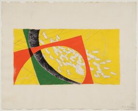 Untitled (Yellow, red, green falling strips of paper)