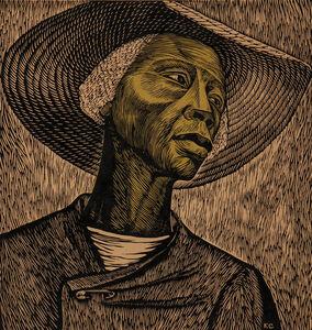 "Elizabeth Catlett, 'Sharecropper, alternatively titled ""Negro Woman,"" and ""Cosechadora de algodón""', c. 1952"