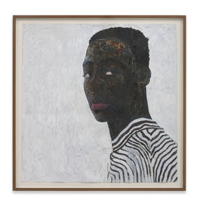 Amoako Boafo, 'Boy in a Black and White Stripe Shirt', 2018