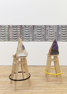 Pam Lins: she swipes shallow space by the slide drawer, installation view