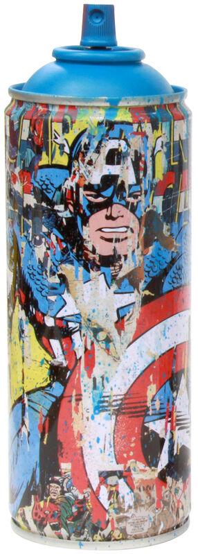 Mr. Brainwash, 'Marvel Spray Can: Captain America, ', 2019, Sculpture, Spray paint on streel spray can, Taglialatella Galleries
