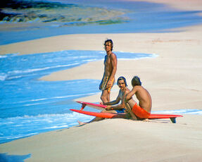 Herbie Fletcher, Gerry Lopez, and Barry Kanaiaupuni, Sunset Beach, Hawaii, 1971