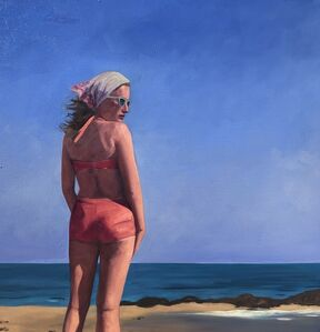 """T.S. Harris, '""""A Summer Place"""" Oil painting of a woman in a pink suit standing by the beach', 2020"""