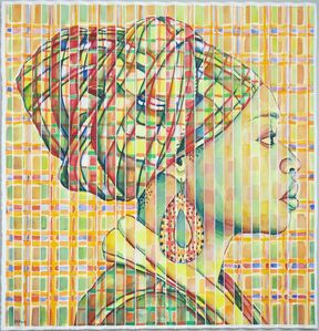 Gary Stephens, 'PLAID LETICIA WATERCOLOR WITH MASAI EARRING', 2019
