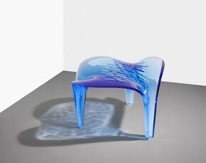 Stool ' Liquid Glacial' Dark Blue