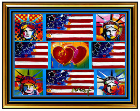 PETER MAX original signed PAINTING LIBERTY HEAD ART FLAG with HEART