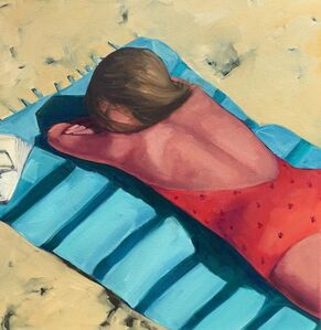 """T.S. Harris, '""""Beach Day"""" Oil Painting of a Woman in an orange bathing suit on a Turquoise Towel on the Sand', 2010-2018"""
