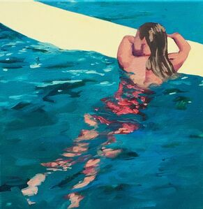 """T.S. Harris, '""""Surfer Girl"""" Oil painting of a girl floating on a yellow surfboard in blue water', 2019"""