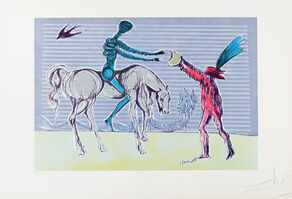 "Salvador Dalí, ' ""Don Quixote: The Gift of Mandrino""  Hand Signed Salvador Dali Lithograph', 1941-1957"