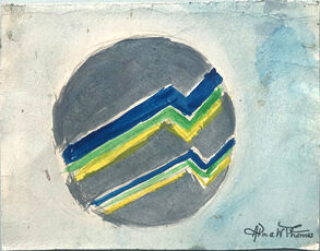 Untitled (Circular Form in blue, gray green and yellow)