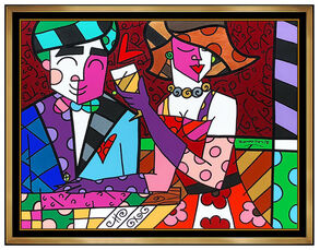Romero Britto Large Original Acrylic Painting On Canvas Signed Modern Portra