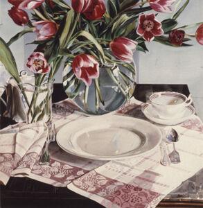 Carolyn Brady, 'Vermillion Tulips on Pink Grid', 1984