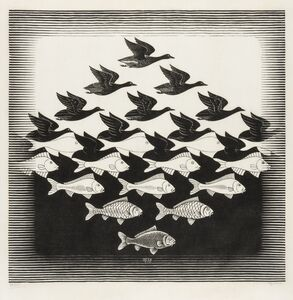 Maurits Cornelis Escher, 'Sky and Water I (Bool 306)', 1938
