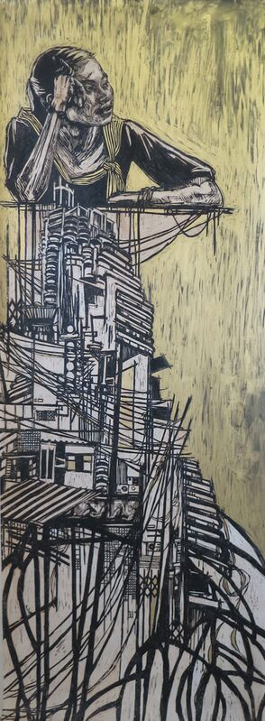 Swoon, 'Bangkok (Gold)', 2009-2012, Mixed Media, Block print, hand printed on mylar with hand painting, Allouche Gallery