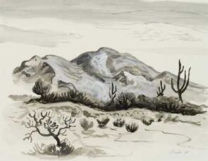 Three Cacti and Mountain