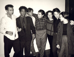 Andy Warhol, Photograph of Jean-Michel Basquiat, Bryan Ferry, Julian Schnabel, Jacqueline Beaurang, Paige Powell, and Others at a Party at Julian Schnabel's Apartment, 1985