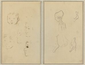 Two Studies of a Child's Head; Two Studies of a Child's Head, a Woman in Profile, and a Man Wrestling an Animal [recto]