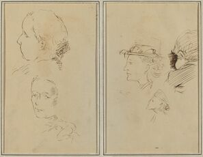 Two Head Studies and a Crouching Nude Woman; Two Women's Heads and a Head of Child [recto]