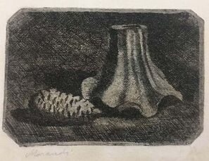 Natura morta con pigna e frammento di vaso