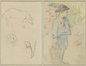 Three Studies of a Pig; Breton Boy Walking with a Jug [recto]