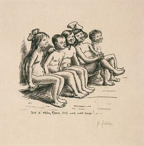 Heinrich Zille, 'Fünf Kinder auf einer Bank', 1924