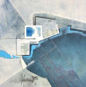 Cecilia Villanueva, 'Icebergs Production Plant, Impossible Architecture, blue, oil on paper, gray, white, environment, green, climate change', 2019