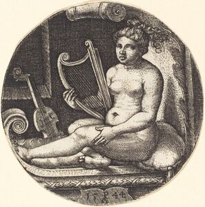 Georg Pencz, 'Woman with a Harp', 1544