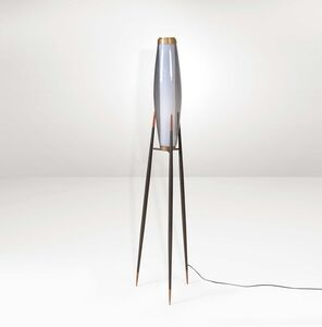 Svend Aage Holm Sørensen, 'A floor lamp with a metal and brass structure', 1950 ca.