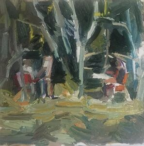 Matthew Collings, 'Two Painters Painting in Trees', 2018
