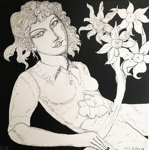 Adrian Wiszniewski, 'Woman with Flower', 2019