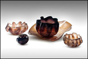 Dale Chihuly, 'Dale Chihuly Original 5 Piece Macchia Set Hand Blown Glass Signed Large Seaform', 20th Century