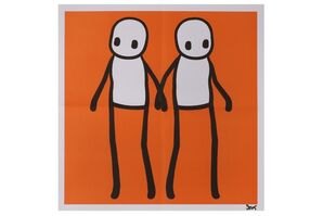 Holding Hands (Yellow, Turquoise, Orange, Blue, Red) each: signed STIK (lower right)