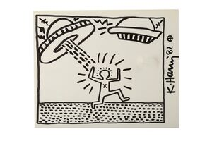 Keith Haring, 'Man with UFO'