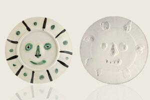"Original Pablo Picasso Dual Sided Ceramic AR 349, 350 ""Face with Spots,"" ""Mat Face"""