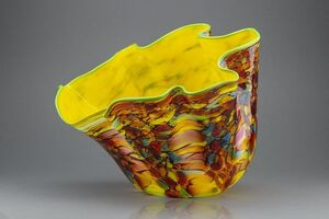 Dale Chihuly, 'Carnival Macchia Large Glass Vase with Yellow Interior & Ruffled Edge', 2000