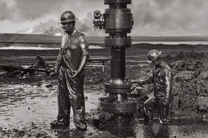Sebastião Salgado, 'Workers Place a New Wellhead, Oil Wells, Kuwait', 1991